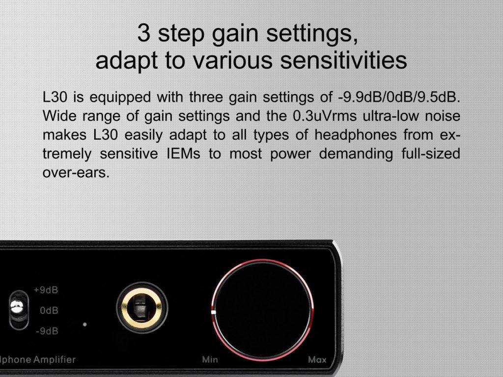 TOPPING L30 amp 3 Gain settings