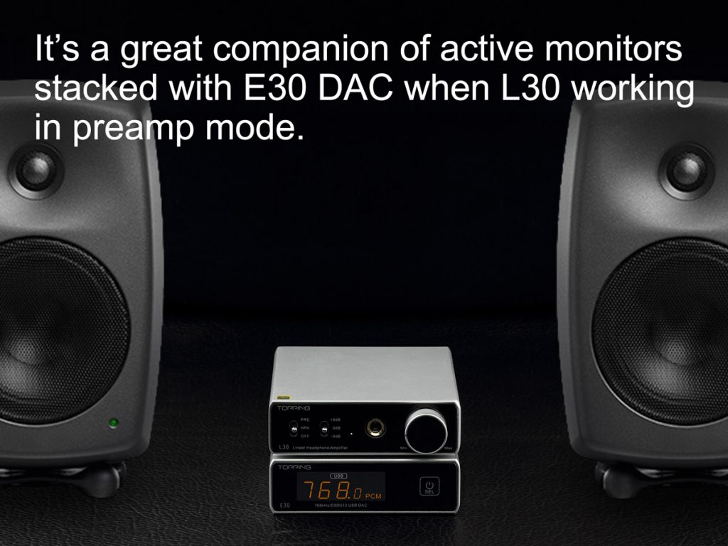 Silver L30 as preamp between two black active studio monitors